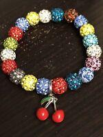 Wild Cherry Charm Stretch Bracelet Fit Cuff or Rustic Shamballa *2*