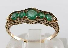 CLASS 9CT 9K 9CT GOLD ART DECO INS COLOMBIAN EMERALD ETERNITY RING FREE RESIZE