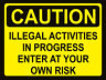 Caution Illegal Activities Tin Signs Retro Metal Plate Wall Decor Poster