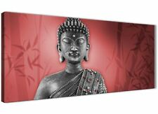 Red and Grey Silver Canvas Wall Art Prints of Buddha - Modern 120cm Wide - 1331