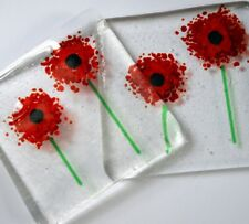 Red Glass Poppy Coasters X 4- Made to Order Birthday Mum Garden Christmas