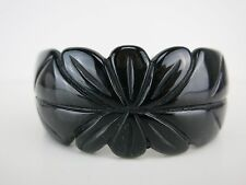 Black Carved Bangle 50s Pinup Rockabilly Vintage Chunky Retro Flower Tiki Petal