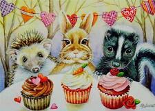 ACEO Limited Edition Print Bunny Rabbit Hedgehog Skunk Valentine's Day J. Weiner