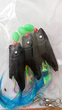 3 HOOKS HOKKI RIGS BLACK HEAD BLUE FLASH TAIL! Great Quality & Value! 02BL