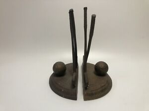 Vintage Modernist Brutalist Brass Figural Sculpture Bookends Golfers Golf
