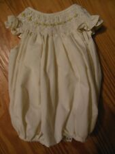 Sweet Dreams Baby Girl Pale Yellow Bubble Outfit Smocked/Embroidered Roses,Sz 3M