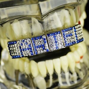 Blue Grillz Customized Name 6 Letters Personalized Custom Made Top Teeth Grills