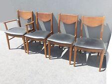 Vintage Mid Century Modern Black Vinyl Dining Room Chairs by Stanley