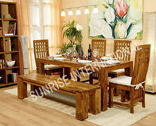 Stylish Wooden Dining table (6ft approx) with 4 chairs & 1 bench set