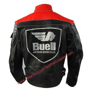 Men Buell Motorcycle Leather Jacket / Buell Moto Red Jacket With CE Armour