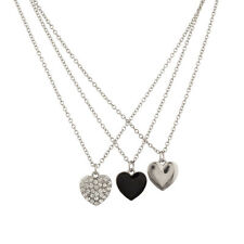Triple Heart Pave Crystal Black BFF Best Friends Forever Necklace Set (3 PC)