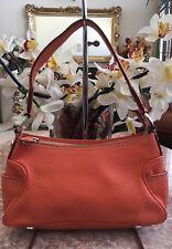 Vintage Micheal Kors Small Orange Pebble Leather Hobo Shoulder Handbag Purse EUC