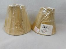 Set of 2 Mini Bell Beige Lamp Shade Lampshade 3 x 6 x 5 Clip On Style Patterned