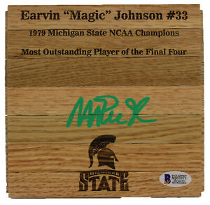 Michigan State Magic Johnson Signed 6x6 Floorboard w/ Green Signature BAS