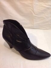 Buffalo London Black Ankle Leather Boots Size 38