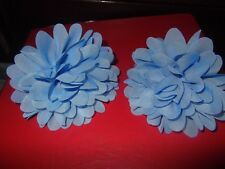 2 BARRETTE HAIR SLIDES WITH BLUE FLOWERS