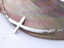 Hand Made Hammered Sterling Silver-925Cross Pendant Adjustable Necklace Eternity