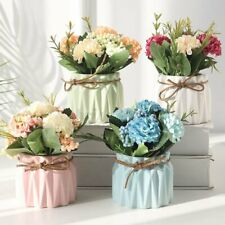 5 Heads Artificial Hydrangea Potted Flower Wedding Valentine's Day Floral Decor