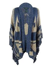 POLO Ralph Lauren Womens XXL Wool Blend Fringe Trim Cardigan Sweater OPEN FRONT
