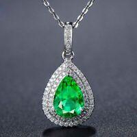 Elegant Damen 925 Silber Halskette Wassertropfen Smaragd Edelstein Anhänger Neu.