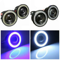 LED Luci Fendinebbia Angel Eyes con Blu Halo Anello DRL Lampada 12V per Car Moto