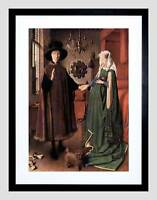 JAN VAN EYCK ARNOLFINI WEDDING OLD MASTER BLACK FRAMED ART PRINT B12X548