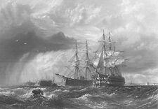 HMS MAN OF WAR GUN SAIL SHIP FRIGATE GALLEON Cannons ~ 1871 Art Print Engraving