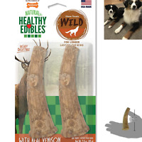 Dog Chew Treats Long Lasting Snack Wild Antler Natural Turkey Flavor Pack of 2