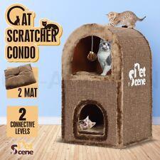 2 Level Cat Scratching Post Furniture Gym Condo Scratcher Pole Barrel House