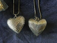 "Lot #6 Of 12 Ea 2"" Heart Pendant 30"" Gold Herring Bone Chains Fashion Jewelry"
