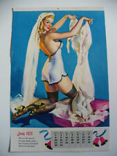 "ELVGREN PINUP CALENDAR JUNE 1952 B&B  ""THIS IS THE MONTH FOR YOU KNOW WHAT"""