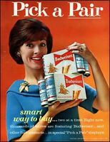 1963 woman buying Budweiser beer pick a pair cans vintage photo Print Ad adl73