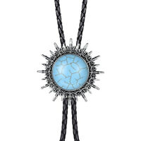 Leather Rope Western Cowboy Blue Bolo Bola Tie  Necktie Gift
