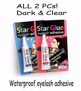 STAR GLUE Eyelash Adhesive -2 pcs Dark & Clear -the Best Waterproof Eyelash Glue