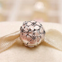 Authentic 925 Sterling Silver Cherry Blossom Clip Soft Pink Enamel & CZ Charm