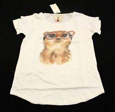 Brat & Suzie Women's Meerkat Print Short Sleeve T-Shirt Sn2 White Medium Nwt