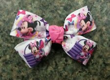 Lot of 2 Disney minnie mouse pink purple hair bow girl nonslip clip