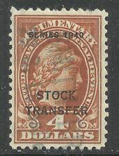 U.S. Revenue Stock Transfer stamp scott rd57 - $4 Overprint issue of 1940 #5