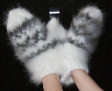 ANGORA 100% Longhair rabbit fluff mittens handmade FETISH not mohair Men Women