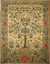 "37"" BELGIAN TAPESTRY WALL HANGING, COPY OF WM MORRIS TREE OF LIFE, BEIGE"
