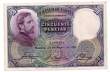 Spagna Spain 50 pesetas 1931   qFDS   aUNC     pick 82    lotto 3498