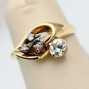 { Vintage 10kt Yellow Gold Custom Natural Diamond Lily Flower Ring } Size 4.5 }