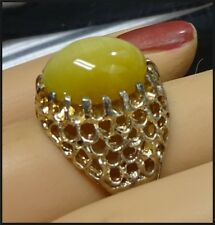 Vintage Vermeil Gold on Sterling Silver Cats Eye Filigree Ring 5.5 Signed ESPO