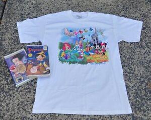 VTG 90s Walt Disney World Magic Kingdom Double Sided t-shirt L BONUS Sealed VHS