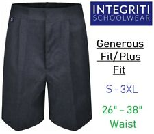 "26-38"" Waist Boys Sturdy Plus Fit School Shorts Generous Elasticated Black Grey"