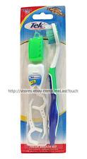TEK* 10pc Set FRESH BREATH KIT Toothbrush+Cover+Floss+Picks+Case GREEN (Carded)