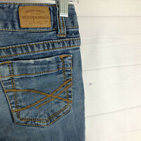 Aeropostale Hailey womens size 00 short stretch blue med wash skinny flare jeans