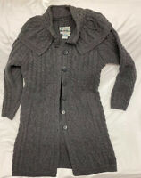 ARAN Crafts Sweater Womens Size M Long Cardigan Duster Ireland 100% Merino wool