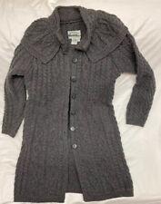 ARAN Crafts Sweater Womens Size M Long Cardigan Duster Ireland 100% Merino wool