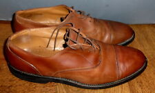 MENS WALK-OVER BROWN LEATHER CAP-TOE DERBY OXFORDS SHOES SIZE 11 B